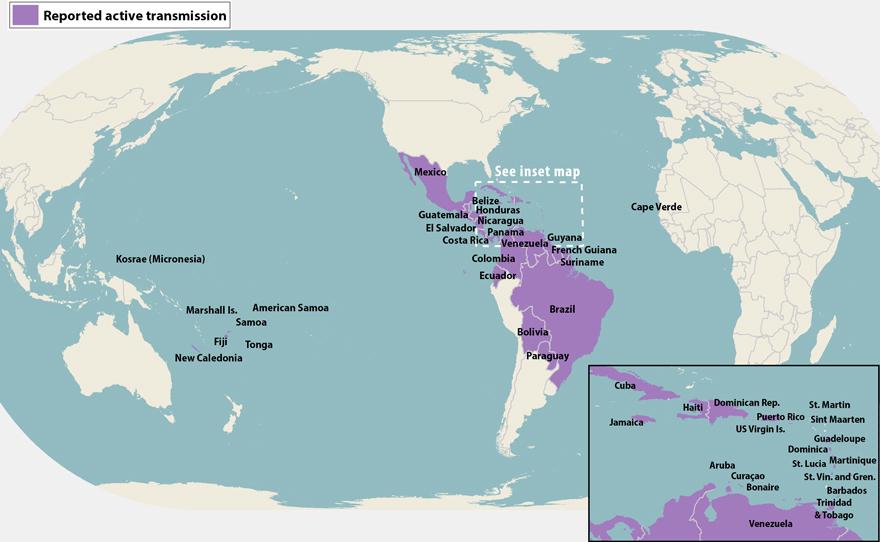 Zika Map, Healthy Living + Travel